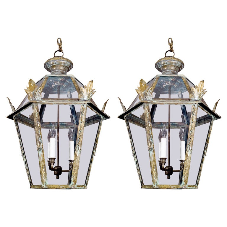 Pair Of Italian Copper Lanterns At 1stdibs
