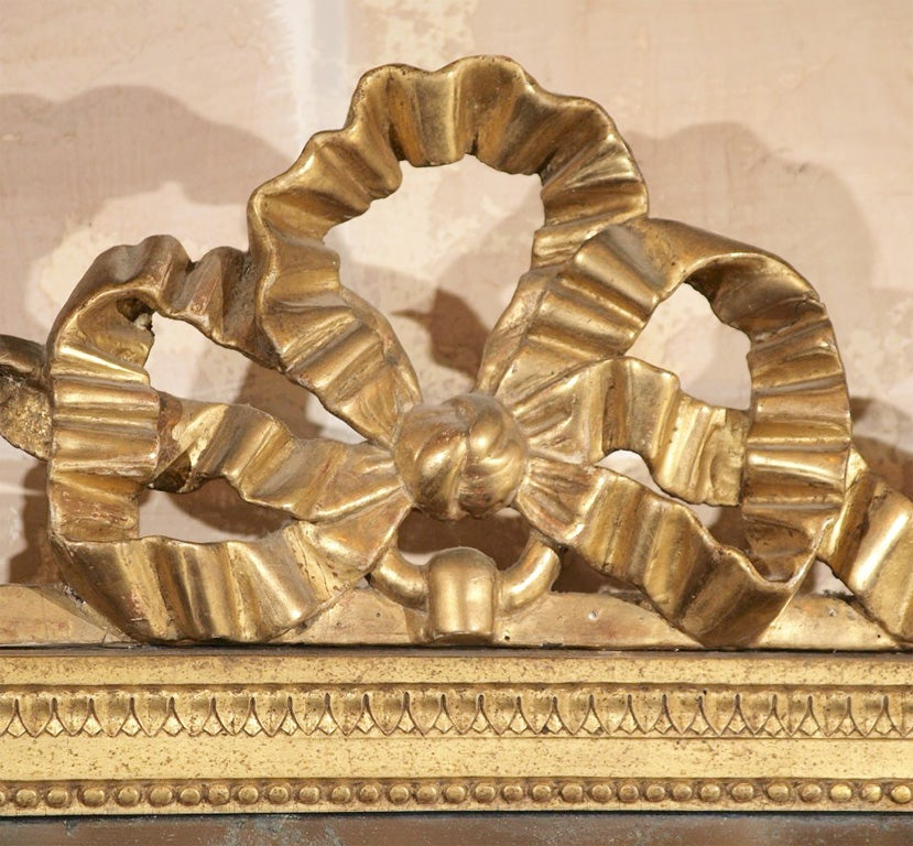 French Louis XVI Painted and Gilded Mirror with Ribbon Decoration For Sale