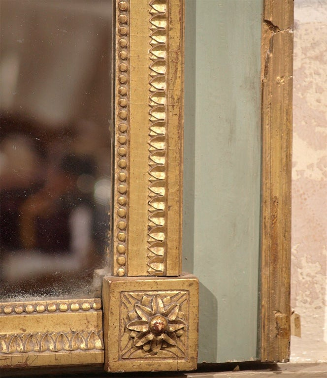 18th Century Louis XVI Painted and Gilded Mirror with Ribbon Decoration For Sale