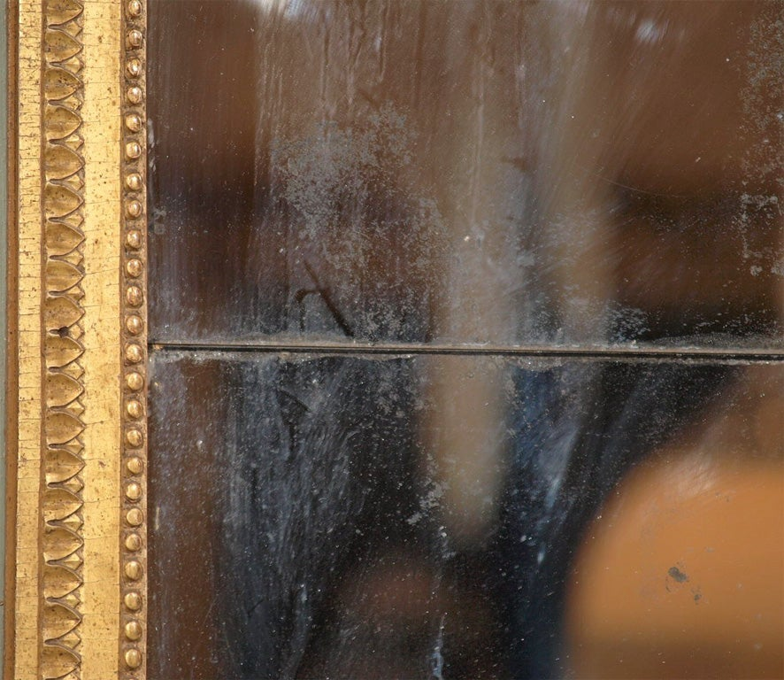 Louis XVI Painted and Gilded Mirror with Ribbon Decoration For Sale 1