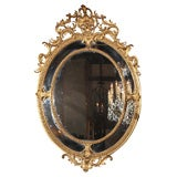 Antique French gold leaf double border mirror