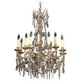 Antique French crystal and bronze two tier 12-light chandelier