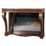Antique English Regency console. Simulated rosewood. Mirrored.