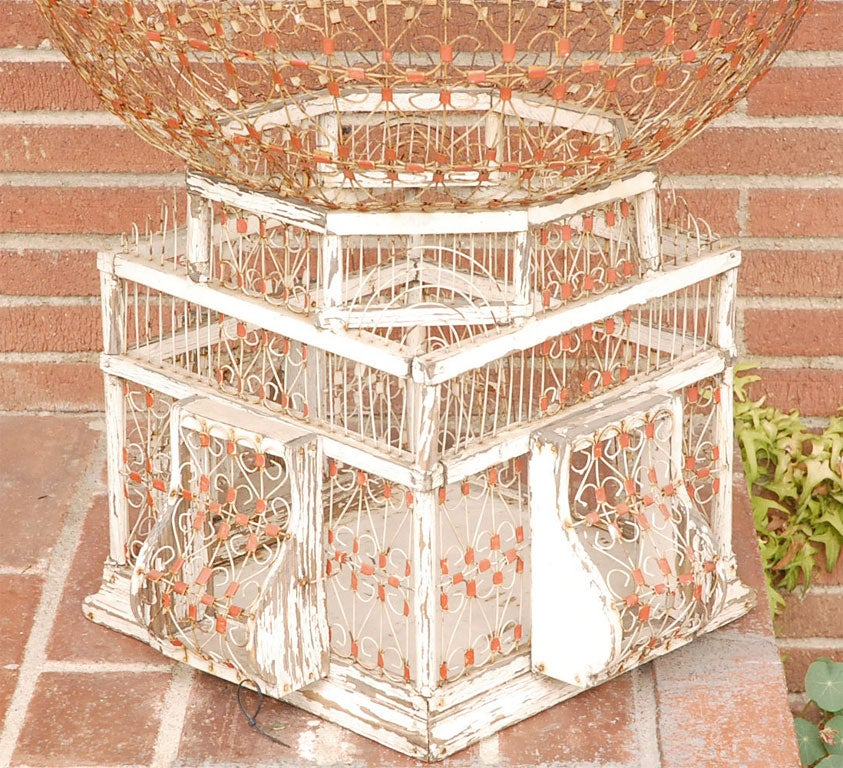 Primitive And Distressed Metal And Wood Birdcage At 1stdibs