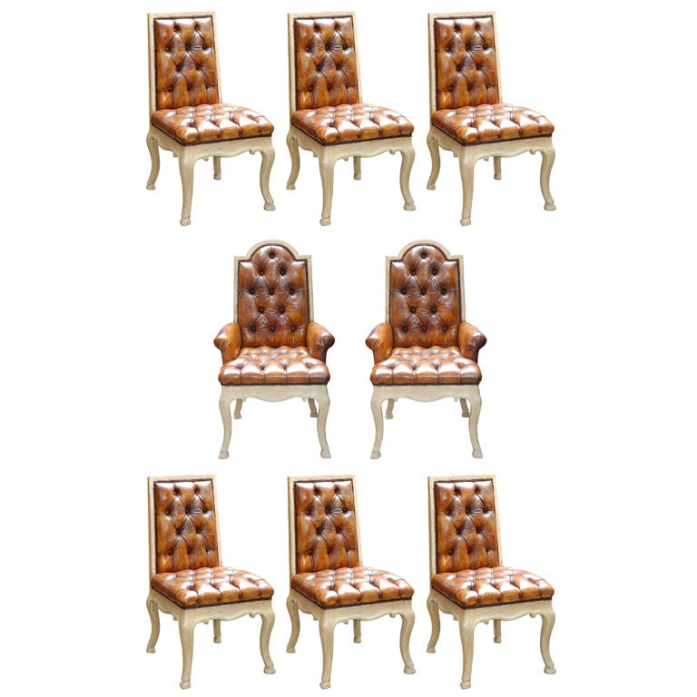 Set of painted and leather tufted dining chairs at 1stdibs for Tufted leather dining room chairs