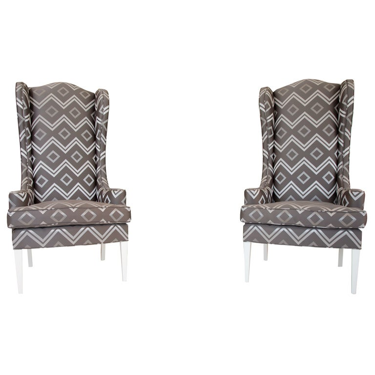 Pair of Oversized Upholstered Wing Back Chairs at 1stdibs