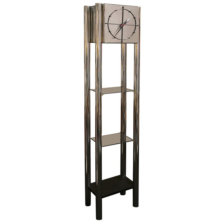 modern chrome standing clock with etagere at 1stdibs. Black Bedroom Furniture Sets. Home Design Ideas