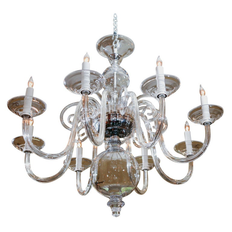 8 arm bohemian hand blown art glass chandelier at 1stdibs Blown glass chandelier