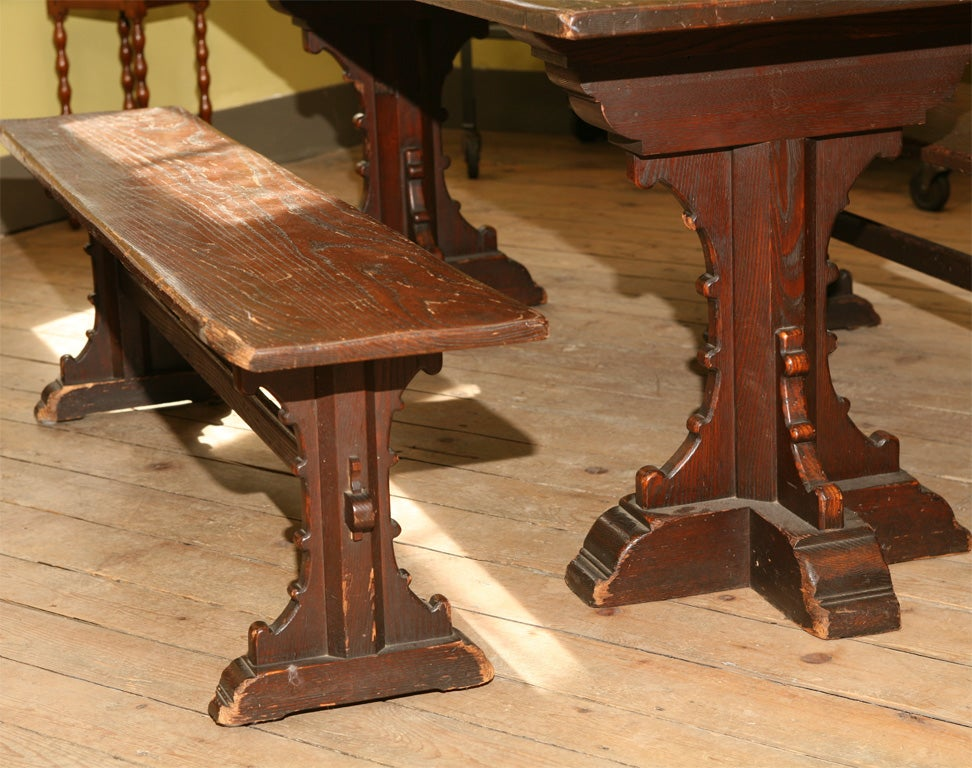 Gothic Table With Benches At 1stdibs