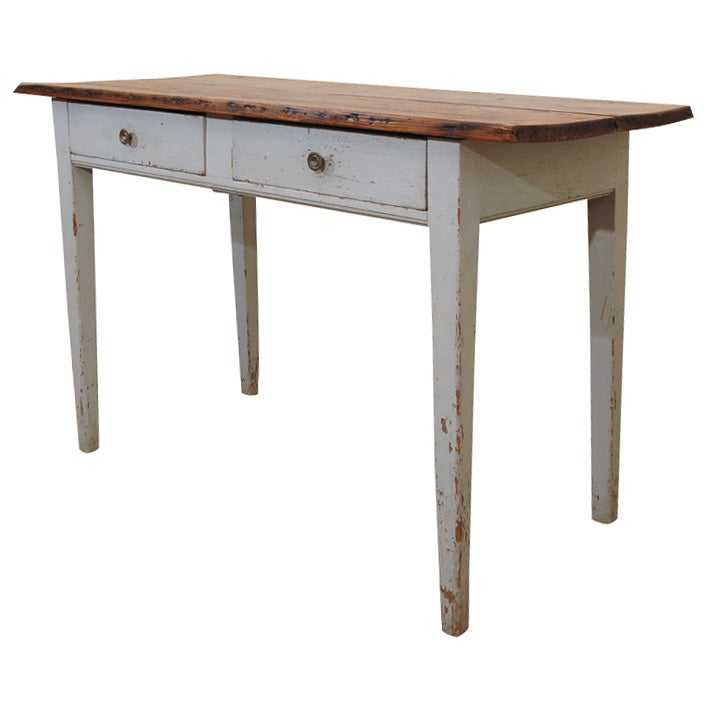 French country painted console table at 1stdibs for Painted foyer tables