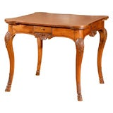 Regence Style Walnut Game Table with Scalloped Shell Carvings