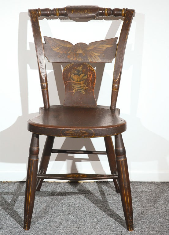 ... ORIGINAL 19THC PAINT DECORATED HITCHCOCK CHAIRS W/ EAGLES at 1stdibs