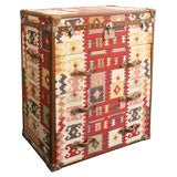 Leather Trimmed Kilim Covered Travel Trunk Chest of Drawers