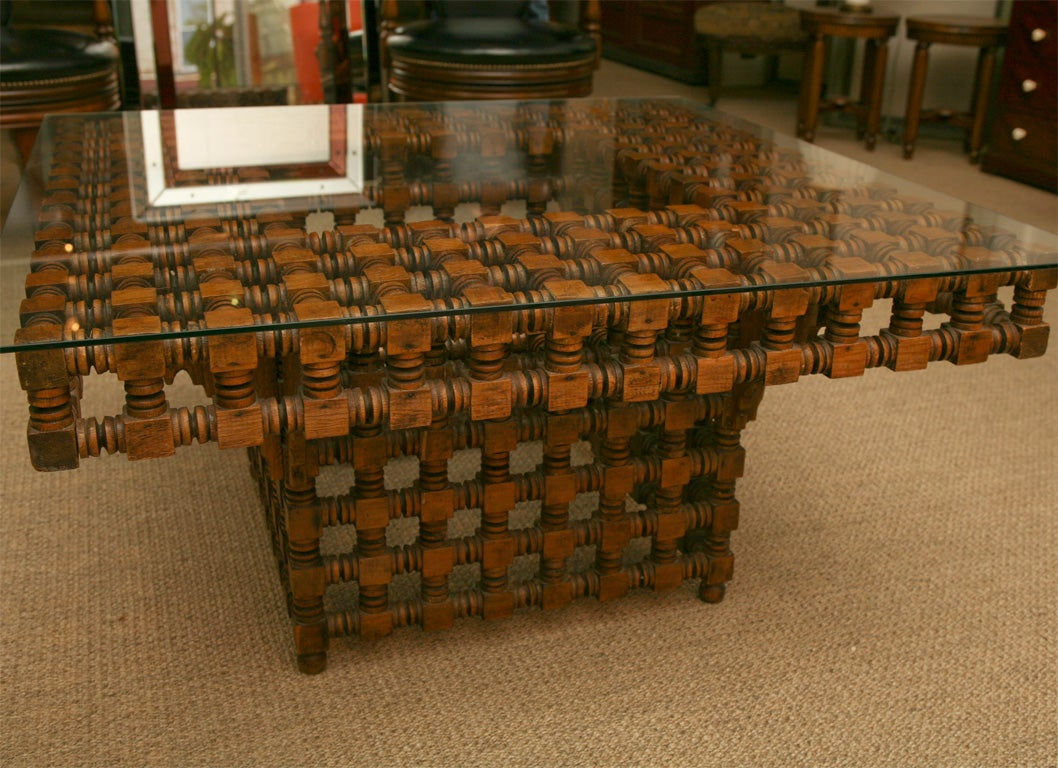 Wood spindle coffee table at stdibs