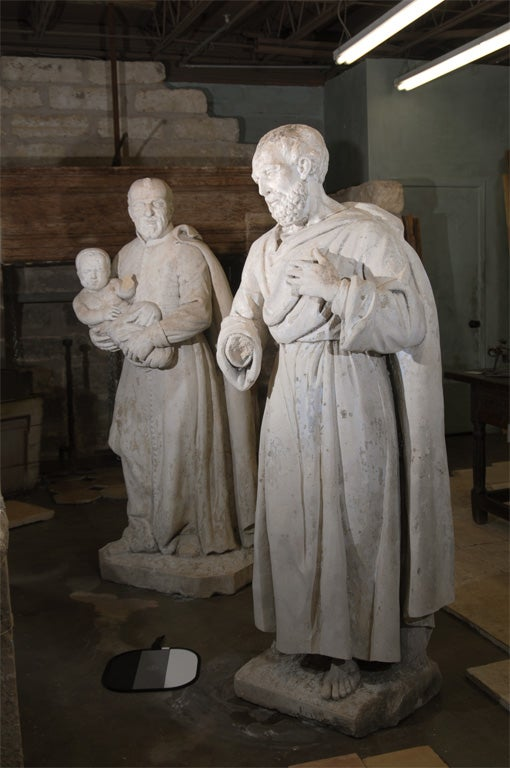 Pair of Late 18th Century Stone Statues from a Monastery in Northern France 2