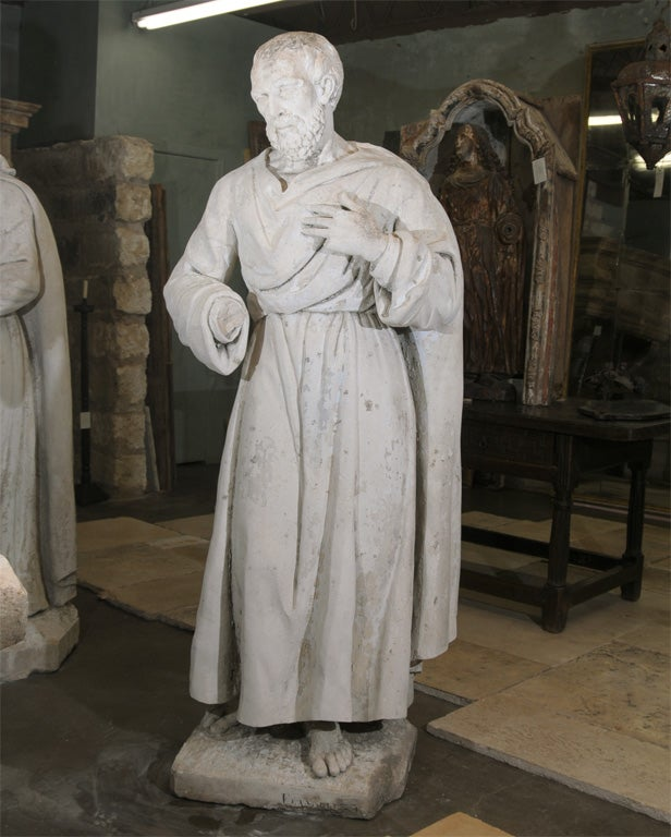 Pair of Late 18th Century Stone Statues from a Monastery in Northern France 3