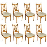 Set of Eight Jansen Stamped Lyre Back Dining Chairs