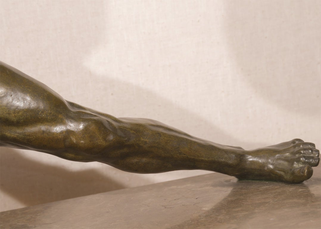 French Art Deco Bronze Sculpture by O. Cipriani For Sale 2