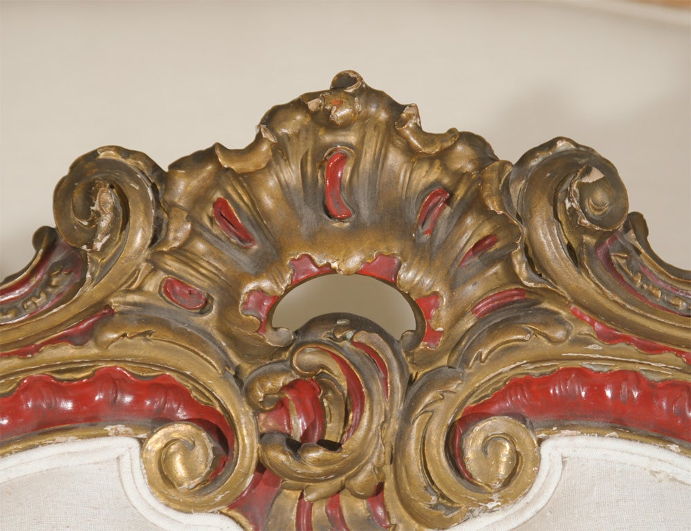 19th Century Venetian Red And Gilt Wood Canape 4
