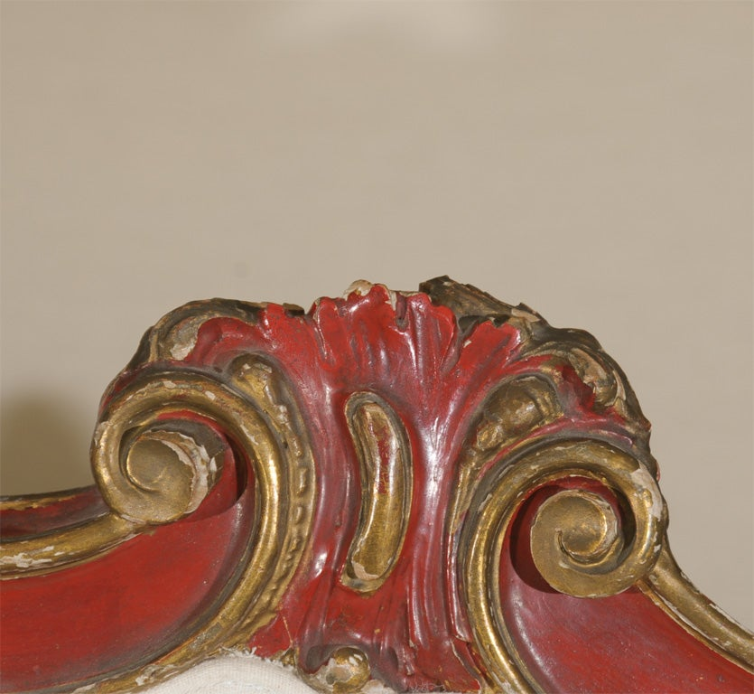 19th Century Venetian Red And Gilt Wood Canape 5