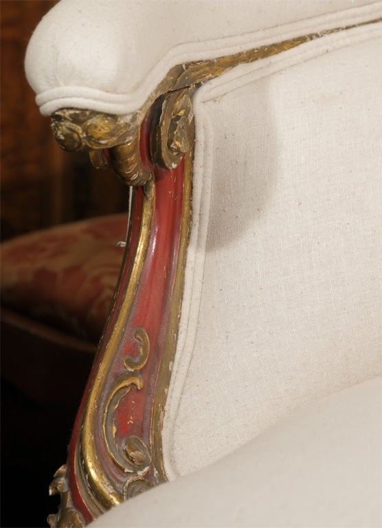 19th Century Venetian Red And Gilt Wood Canape 7