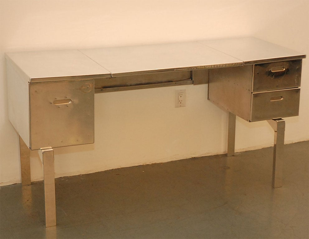 Aluminum campaign desk  professionally polished.   Perfect for writing desk  or  vanity.