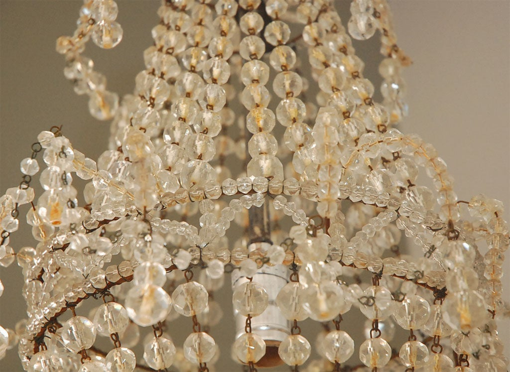 Unusual art deco corbeille chandelier with glass beads at 1stdibs - Chandelier glass beads ...