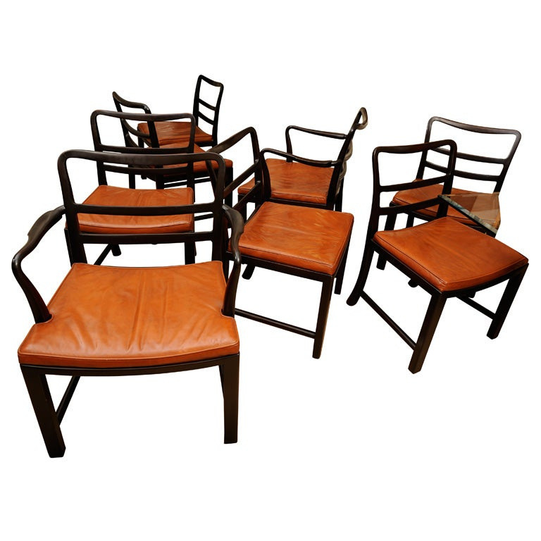 Set of Eight Dining Chairs by Edward Wormley for Dunbar 1