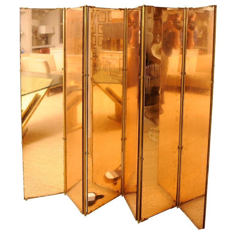 Peach mirror folding screen at 1stdibs - Mirror screen ...