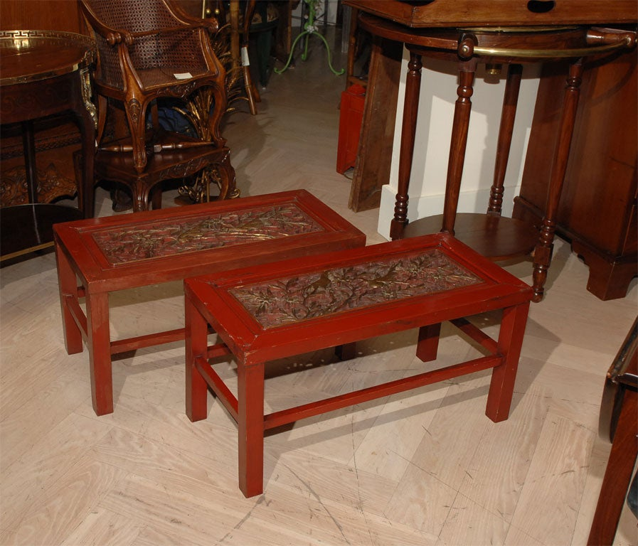 Red Lacquered Chinese Table image 2