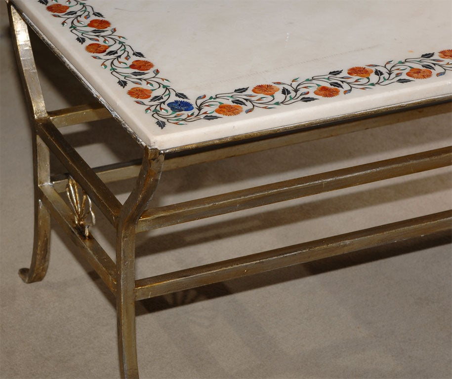 Marble Top Coffee Table India: Indian Inlaid Marble Table At 1stdibs
