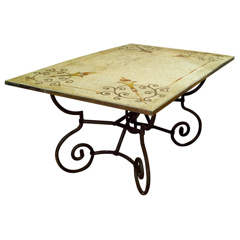 Stone mosaic c1890 table top on a 20th wrought iron base for Wrought iron table bases marble top