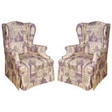 Paris Architecture Toile wing chairs