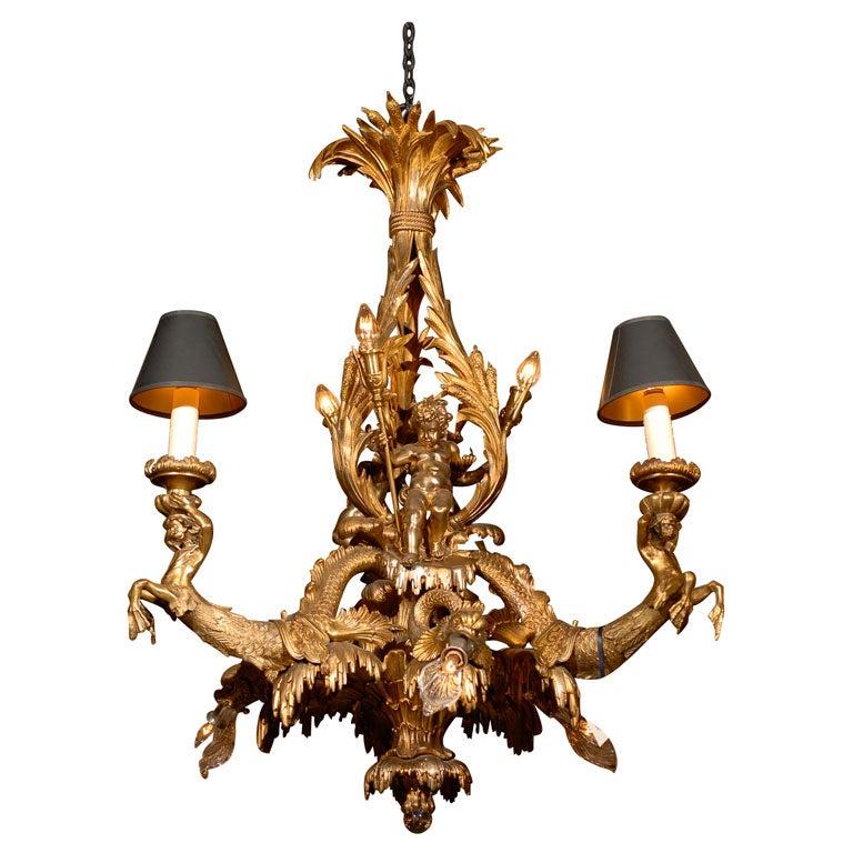 Antique unique gilt bronze chandelier for sale at 1stdibs for Unique chandeliers for sale
