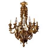 Antique Chandelier. Gilt bronze chandlier with crystal