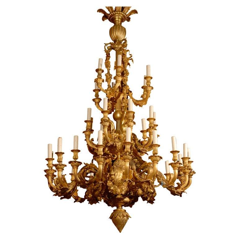 Antique Chandelier. Gilt bronze chandelier depicting mermaids For Sale at 1stdibs