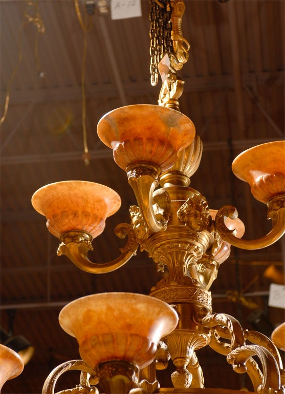 French Antique Two-Tiered Gilt Bronze and Alabaster Chandelier For Sale