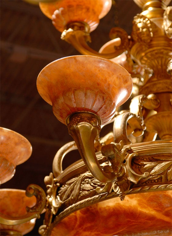 Antique Two-Tiered Gilt Bronze and Alabaster Chandelier For Sale 4