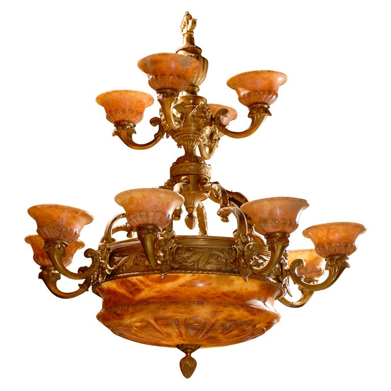 Antique Two-Tiered Gilt Bronze and Alabaster Chandelier For Sale