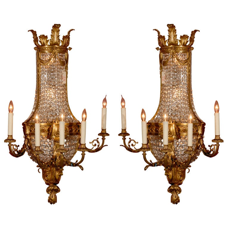 Magnificent Pair of Wall Sconces For Sale
