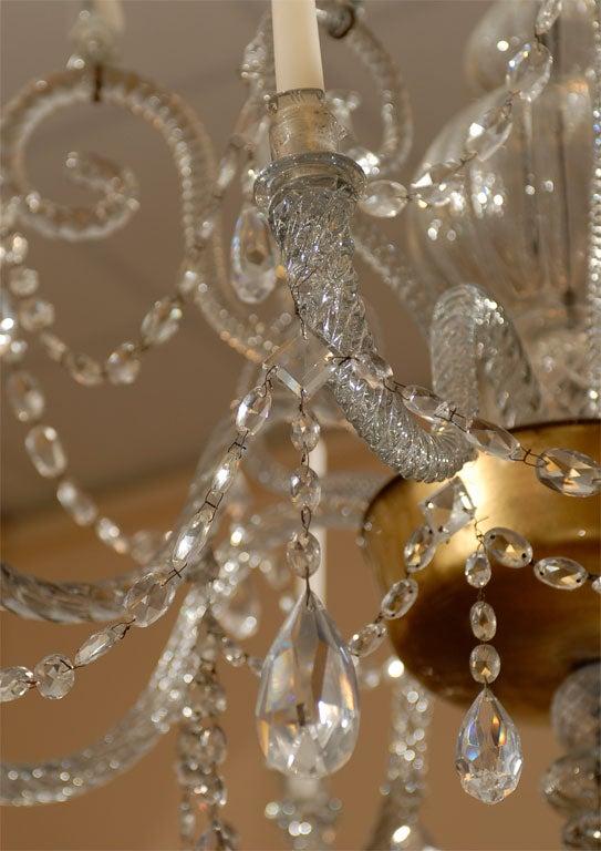 Italian A Fine 18th Century Venetian Crystal Chandelier with Gilt Detail For Sale