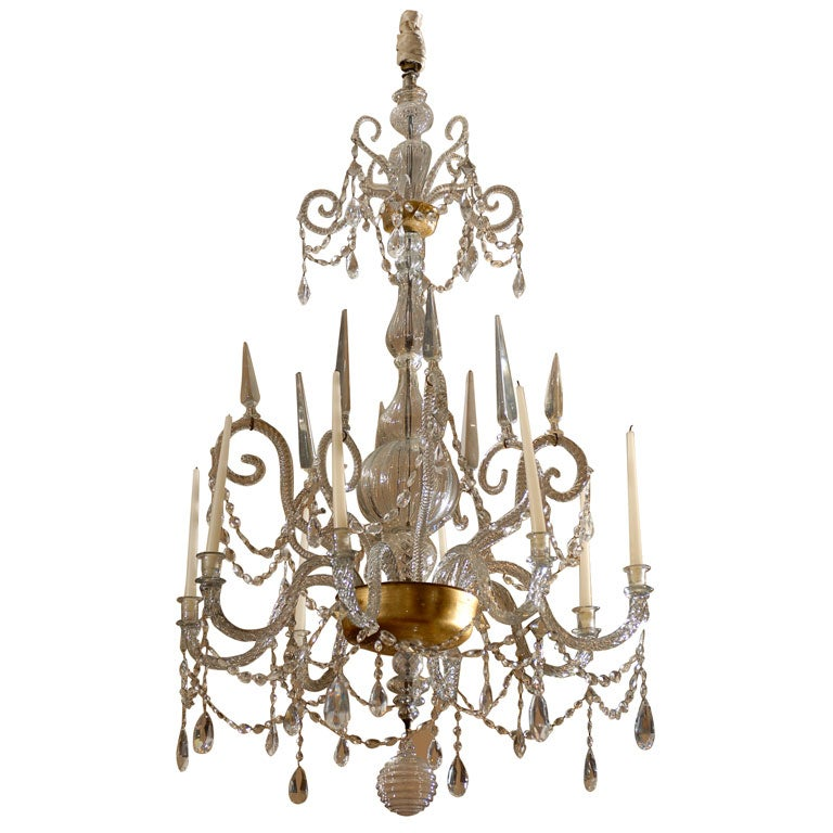 A Fine 18th Century Venetian Crystal Chandelier with Gilt Detail For Sale