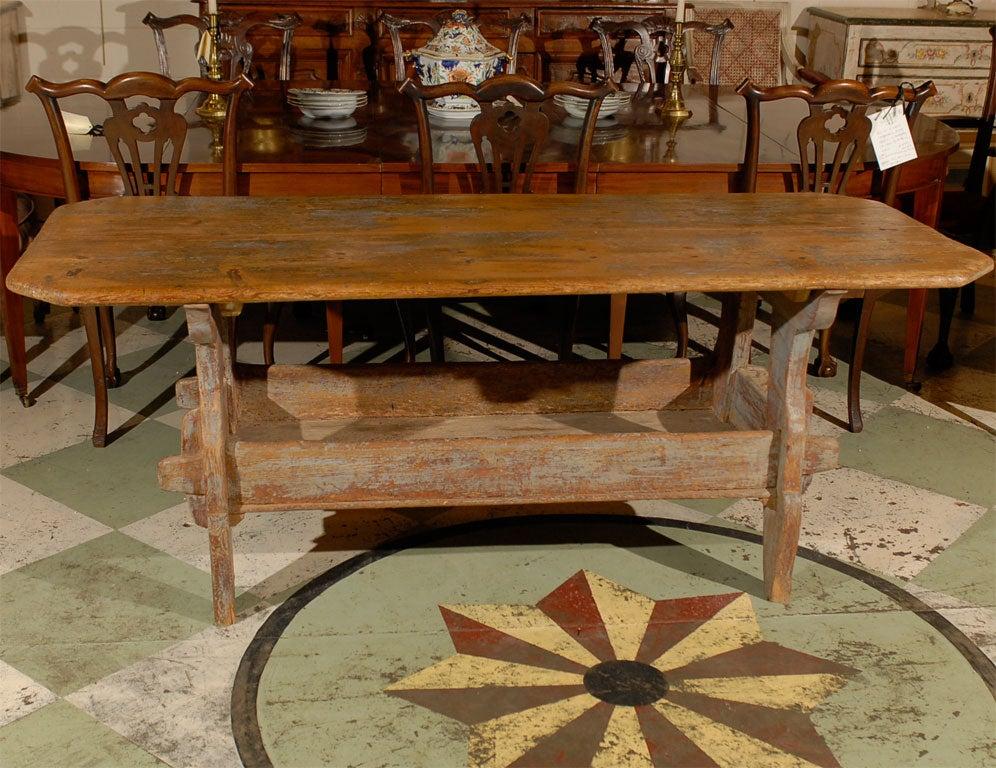 19th Century Swedish Painted Trestle Table At 1stdibs