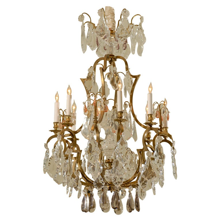 19th century French Bronze & Crystal Chandelier