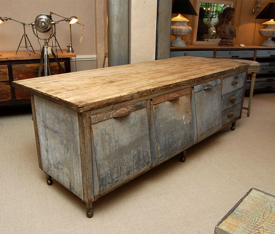 galvanized steel kitchen prep table with maple chopboard top image 2