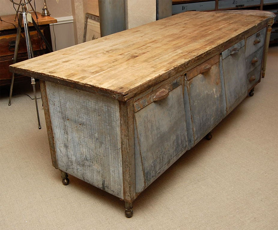 galvanized steel kitchen prep table with maple chopboard top image 3