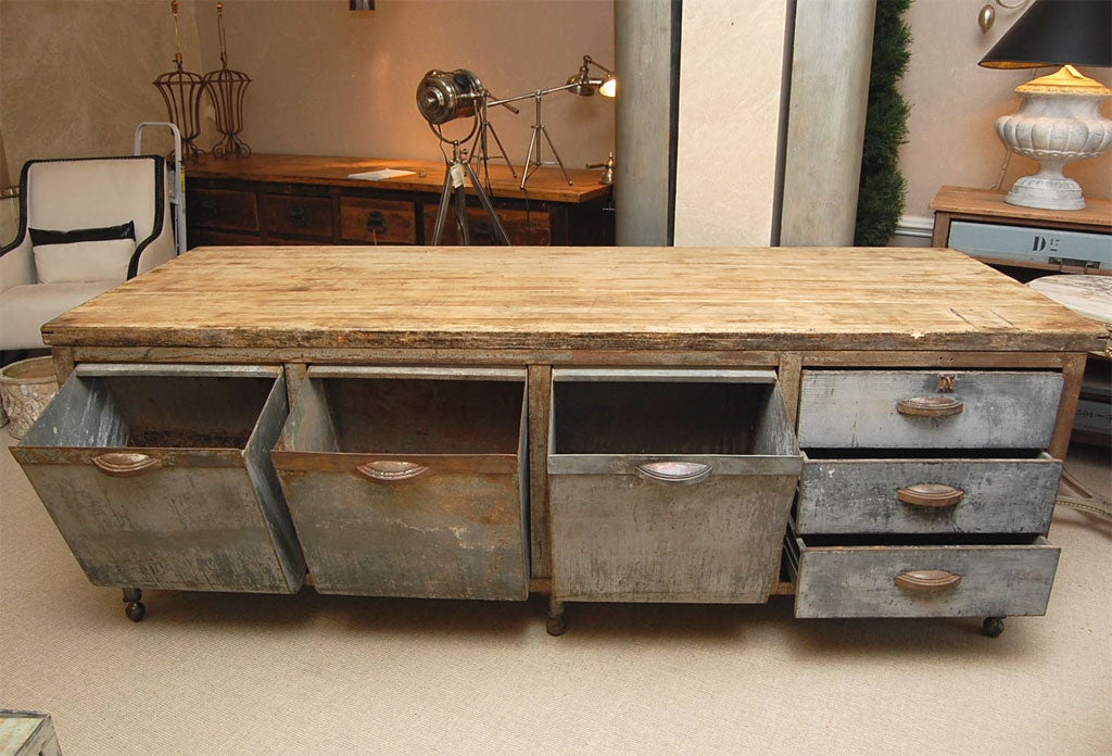 galvanized steel kitchen prep table with maple chopboard