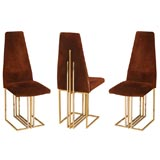 Set Of Six High Back Pierre Cardin Dining Chairs
