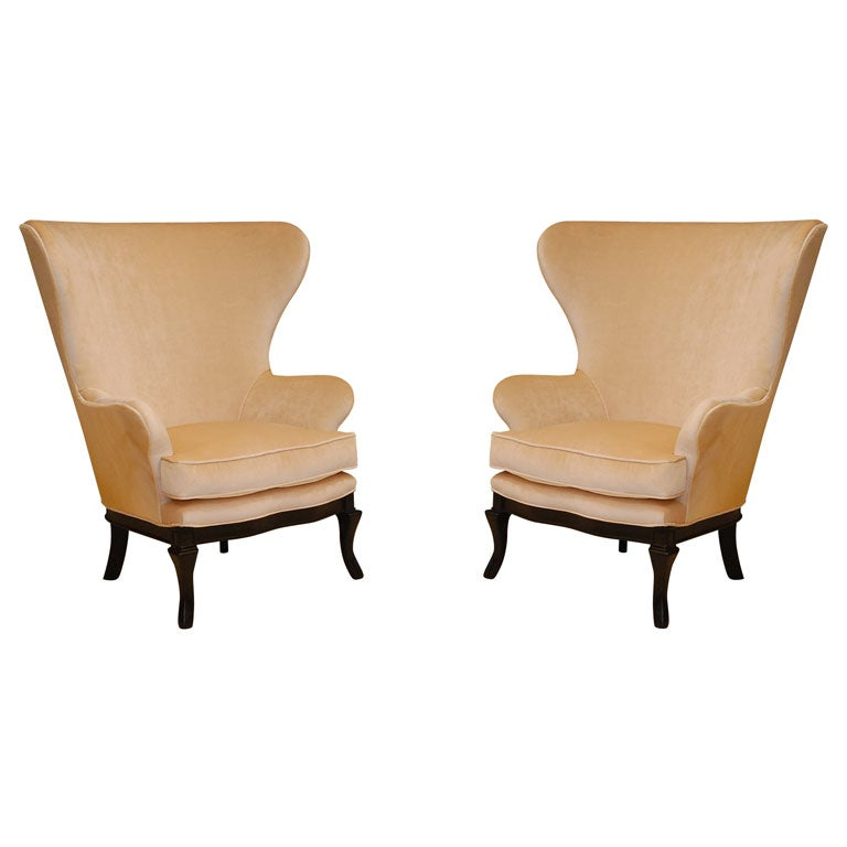 dramatic wing back chairs by lawson