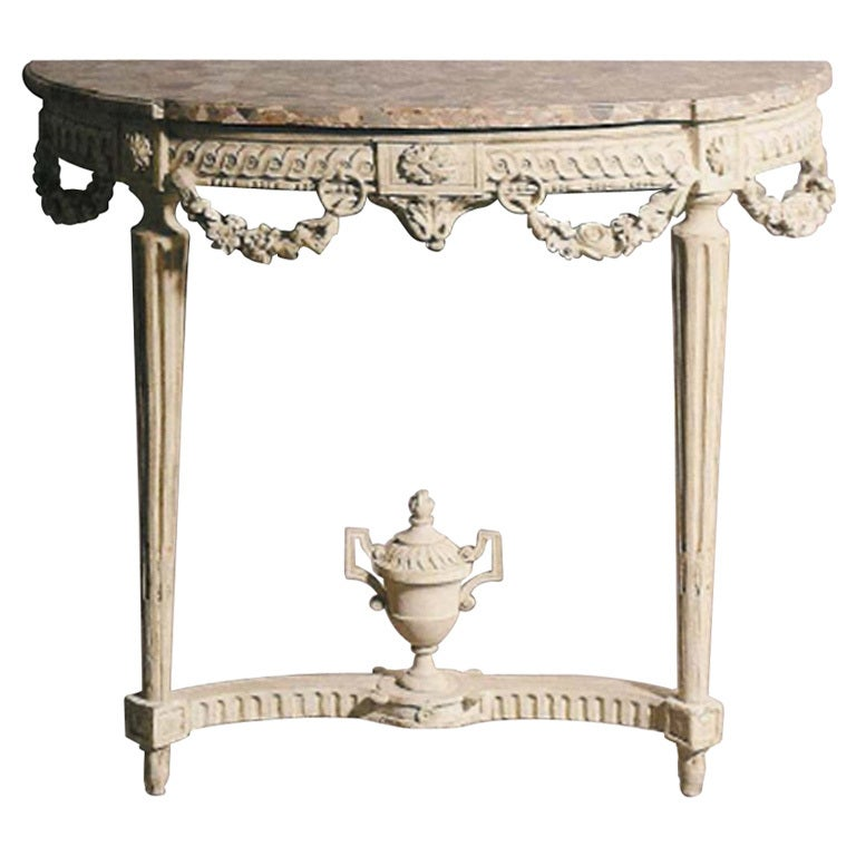 a very fine painted louis xvi demi lune console with. Black Bedroom Furniture Sets. Home Design Ideas